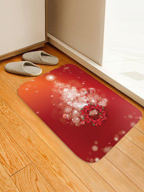 Christmas Tree Wreath Pattern Anti-skid Area Rug - VALENTINE RED W20 X L31.5 INCH