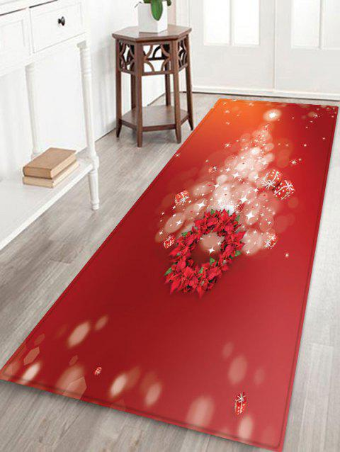 Christmas Tree Wreath Pattern Anti-skid Area Rug - VALENTINE RED W16 X L47 INCH