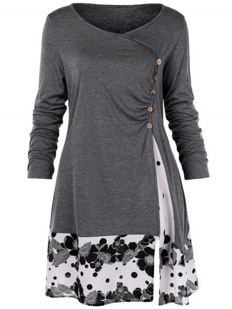 Plus Size Draped Floral Tunic T-shirt - GRAY 5X