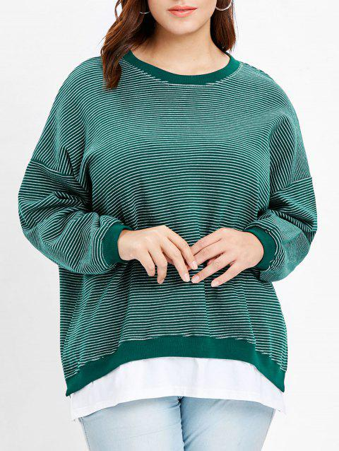7b7cd733071 Plus Size Drop Shoulder Striped Sweatshirt - MEDIUM AQUAMARINE ONE SIZE