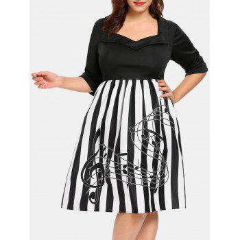 Plus Size Striped Sweetheart Neck Vintage Dress
