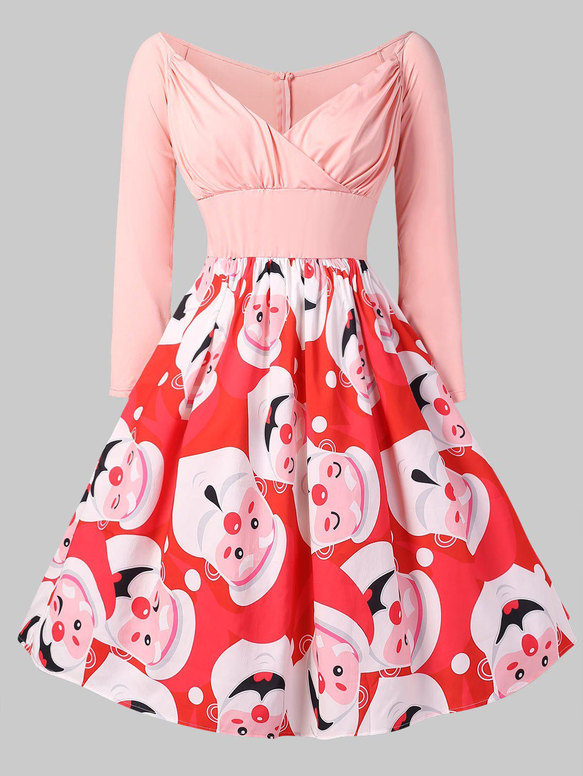 Christmas Santa Clause Print Pin Up Dress - PINK 2X