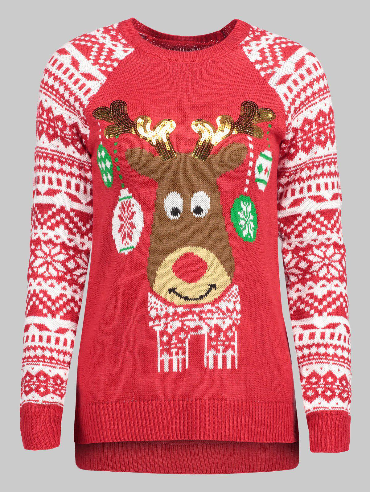 Plus Size Christmas Reindeer Sweater - BEAN RED 1X