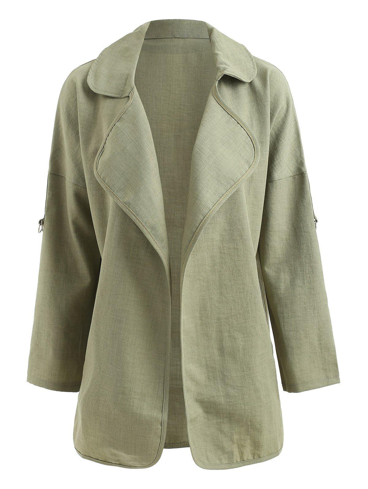 Plus Size Turn Down Collar Tunic Coat - DARK SEA GREEN 1X