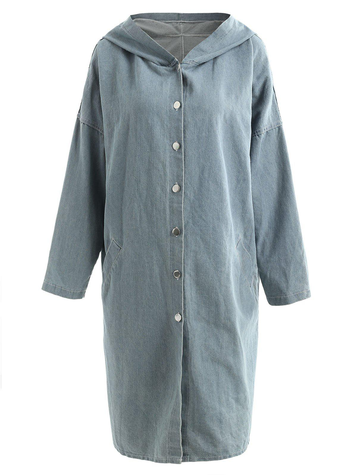 Hooded Button Down Long Denim Coat - BLUE GRAY ONE SIZE