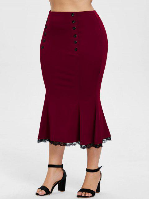 Plus Size Lace Trim Fishtail Skirt - RED WINE 2X