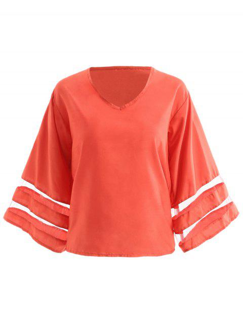 Mesh Panel Long Sleeve Blouse - RED L