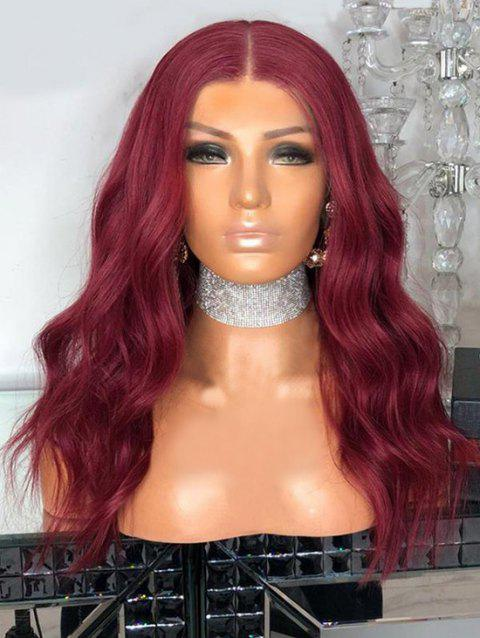 Middle Part Long Wavy Capless Party Synthetic Wig - RED WINE