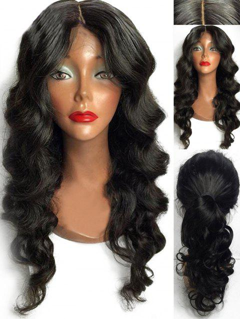 Middle Part Long Party Body Wave Synthetic Wig - NATURAL BLACK