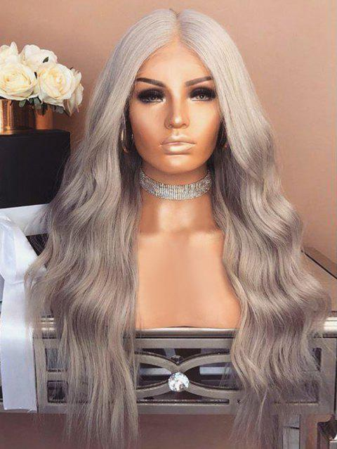 Middle Part Synthetic Capless Wavy Long Wig - PLATINUM
