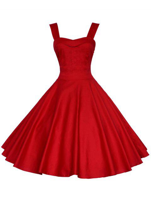 Vintage Straps Fit and Flare Dress - RED 2XL