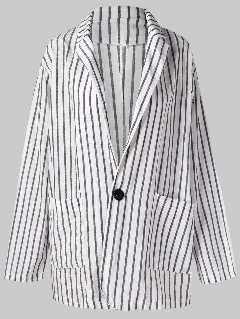 Lapel Neck Pocket Striped Tunic Blazers - WHITE M