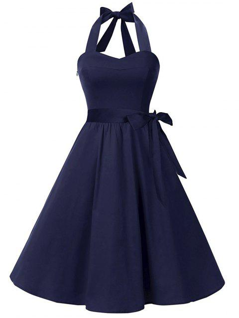 Retro Halter Lace Up Swing Dress - DENIM DARK BLUE L