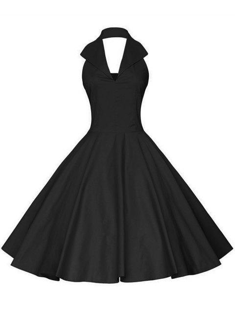 Vintage Halter Fit and Flare Dress - BLACK XL