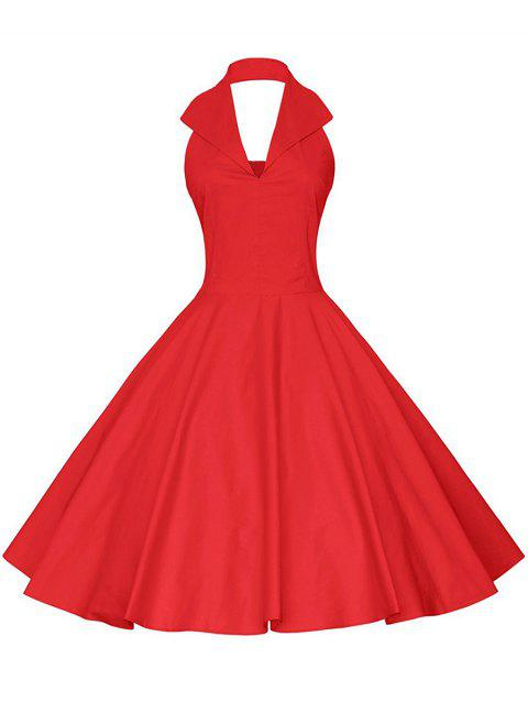 Vintage Halter Fit and Flare Dress - RED 2XL