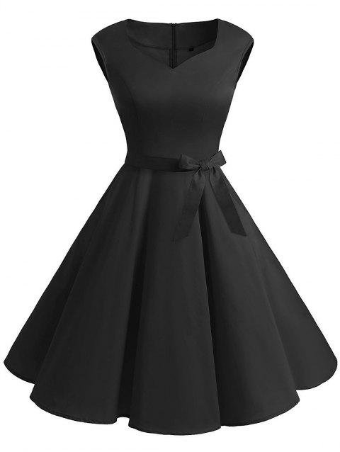 Vintage Sweetheart Neck Pin Up Dress - BLACK 2XL