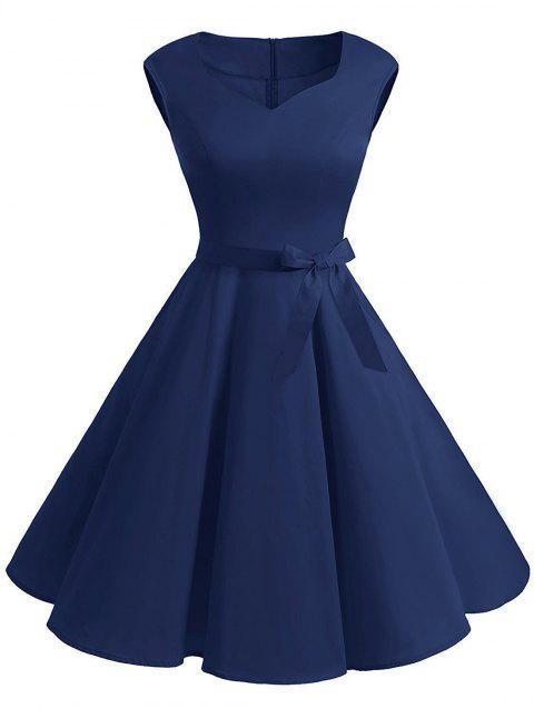Vintage Sweetheart Neck Pin Up Dress - DENIM DARK BLUE XL