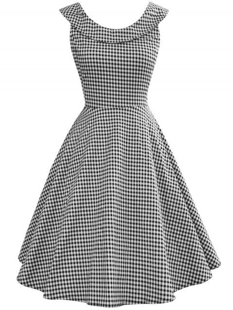 Vintage Gingham Pin Up Dress - multicolor M