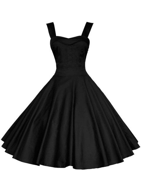 Vintage Straps Fit and Flare Dress - BLACK M