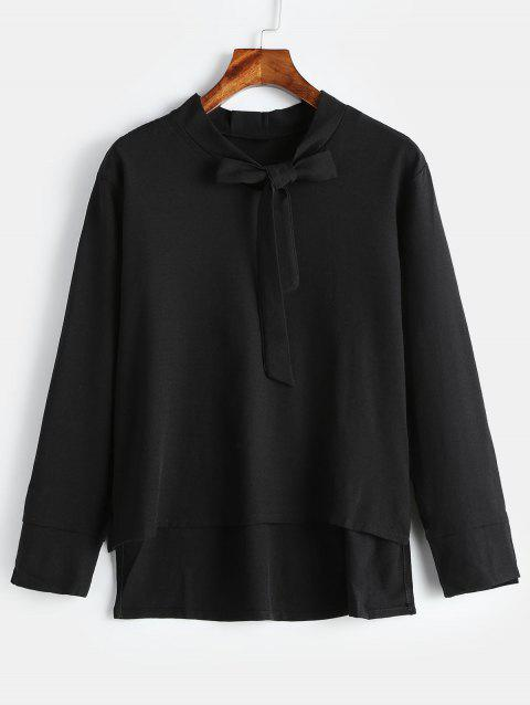 Plus Size Long Sleeve Blouse with Tie - BLACK 3X