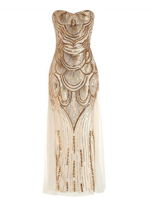Sequins Formal Maxi Dress with Lace Up - CHAMPAGNE GOLD L