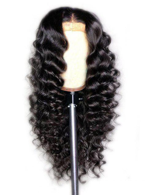 Synthetic Long Center Parting Loose Wave Wig - NATURAL BLACK