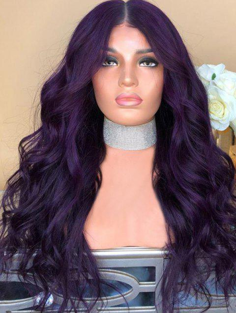 Long Center Parting Wavy Synthetic Cosplay Party Wig - PURPLE IRIS