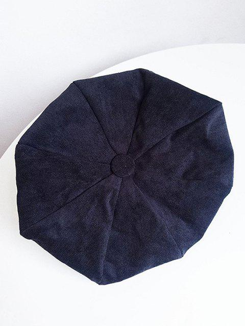 Vintage Solid Color Corduroy Beret - BLACK
