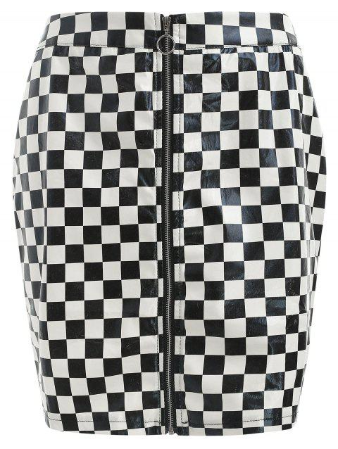 Faux Leather Plaid Skirt - BLACK M