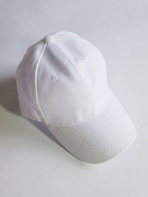 Outdoor Solid Color Adjustable Sport Hat - WHITE