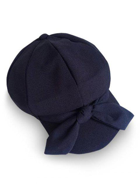 Vintage Bowknot Solid Color Beret - BLACK