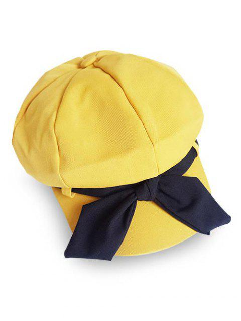 Vintage Bowknot Solid Color Beret - CORN YELLOW