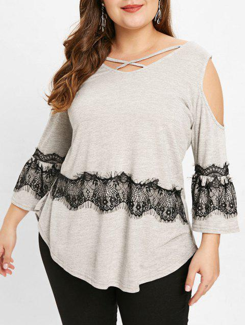 Plus Size Criss Cross V Neck T-shirt - LIGHT GRAY 5X
