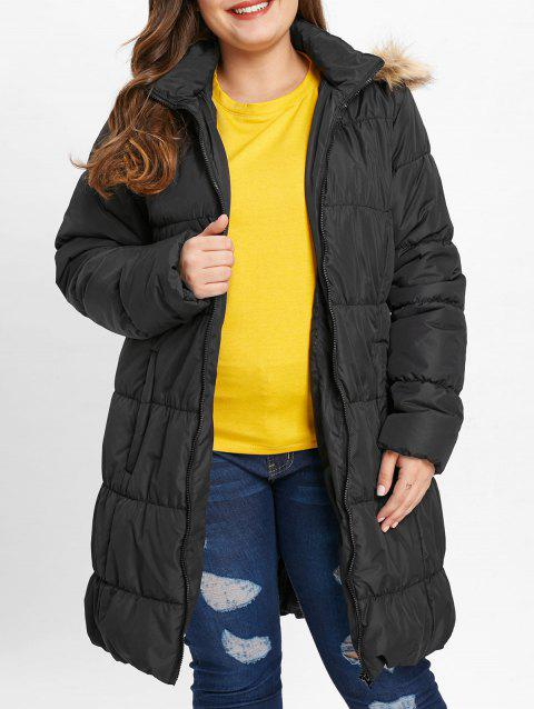 Puffer Coat Plus Taille Poches - Noir 2X