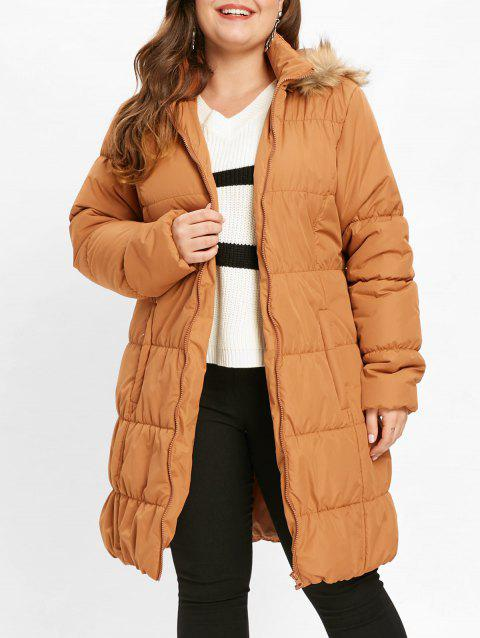 Plus Size Pockets Detail Puffer Coat - CAMEL BROWN 2X