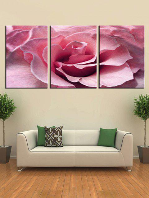Unframed Flower Print Split Canvas Paintings - PINK 3PCS X 24 X 35 INCH( NO FRAME )