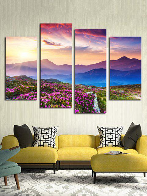 Floral Mountains Print Unframed Split Canvas Paintings - multicolor 2PCS X 12 X 24,2PCS X 12 X 31 INCH( NO FRAME )