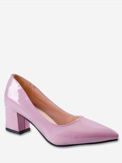 Pointed Toe Mid Chunky Heel Pumps - LIGHT PINK EU 39