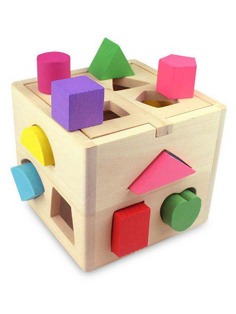 Wooden Geometric Shape Sorting Box for Kids - multicolor