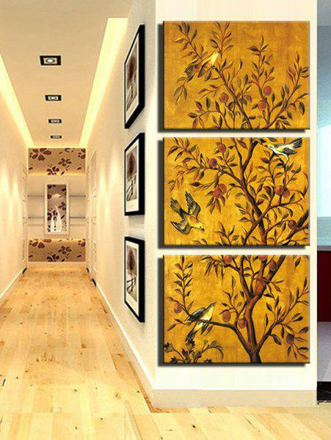 Tree and Birds Print Unframed Split Canvas Paintings - multicolor 3PCS X 12 X 18 INCH( NO FRAME )