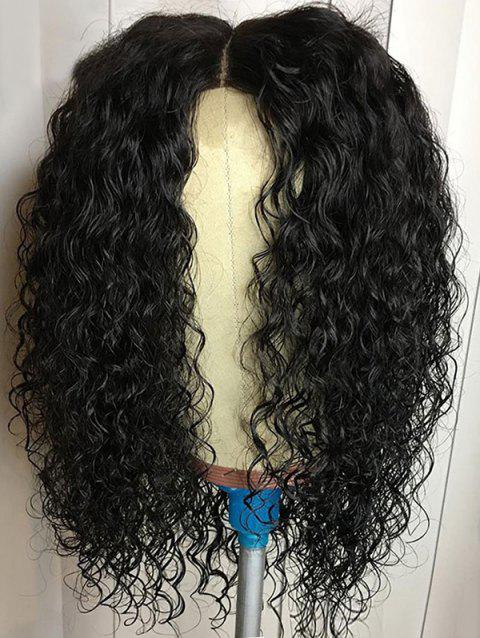 Center Parting Medium Curly Heat Resistant Synthetic Wig - NATURAL BLACK