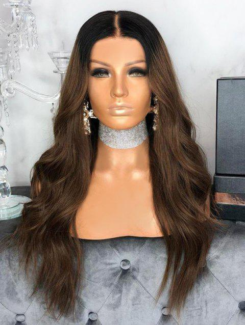 Long Ombre Middle Part Wavy Party Synthetic Wig - BROWN