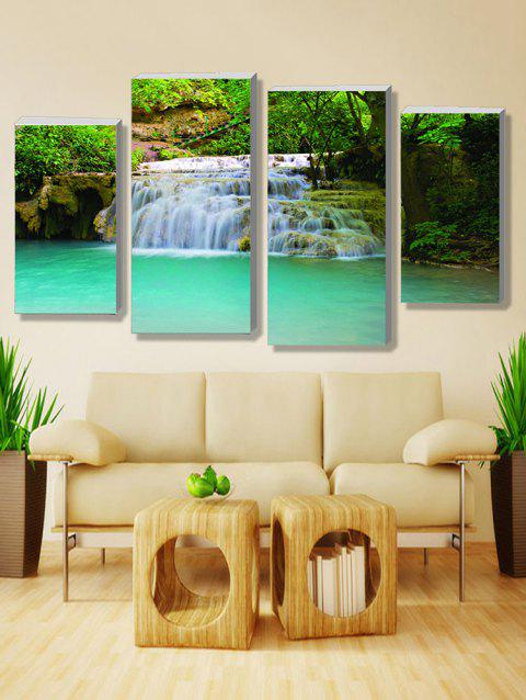 Forest Waterfall Print Unframed Split Canvas Paintings - multicolor 2PCS X 12 X 24,2PCS X 12 X 31 INCH( NO FRAME )
