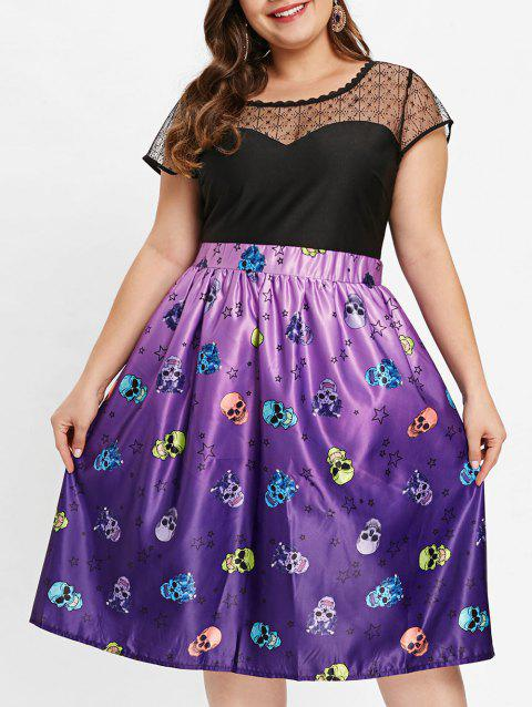 Plus Size Halloween Cap Sleeve Dress - PURPLE 3X