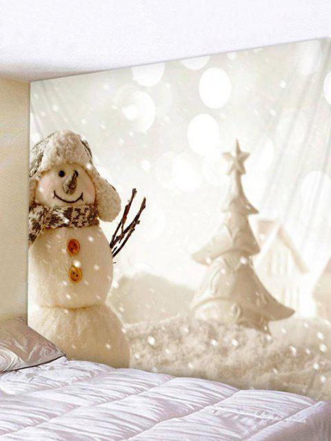 Christmas Snowman Print Tapestry Art Decoration - multicolor W59 X L51 INCH