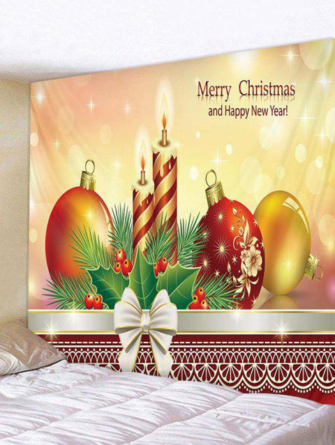Merry Christmas Happy New Year Print Tapestry Decoration - multicolor W59 X L51 INCH