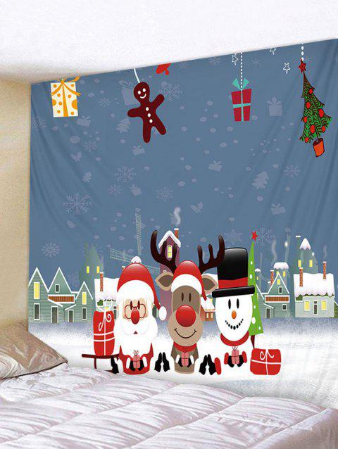 Father Christmas Deer Snowman Print Tapestry Decoration - multicolor W91 X L71 INCH