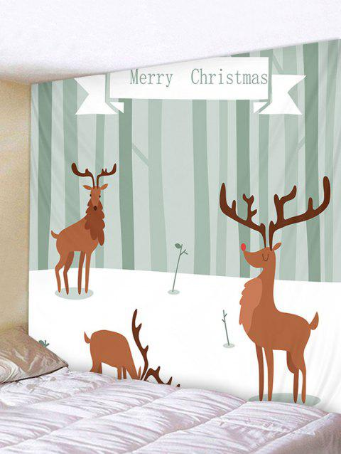 Merry Christmas Deer Print Tapestry Art Decoration - multicolor W79 X L71 INCH