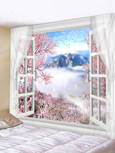 Window Flower Print Tapestry Art Decoration - multicolor W79 X L71 INCH