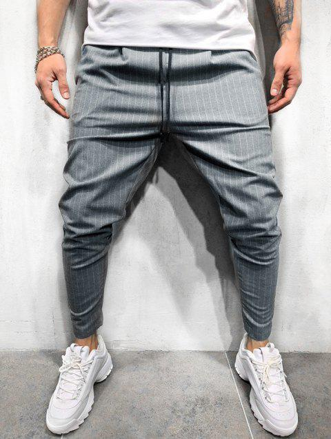 Thin Stripe Tapered Casual Pants - LIGHT GRAY XS